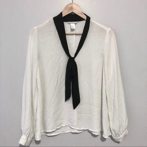 H&M white silk tie neck blouse size 6.